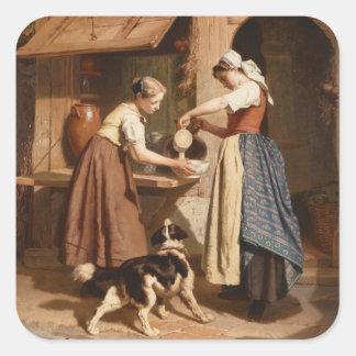 酪農場、1866年(パネルの油) スクエアシール