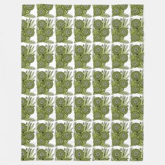酸の緑のガーベラのデイジーの花の花束 フリースブランケット