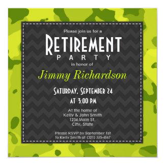 酸の緑の迷彩柄; 退職パーティーの招待 13.3 スクエアインビテーションカード