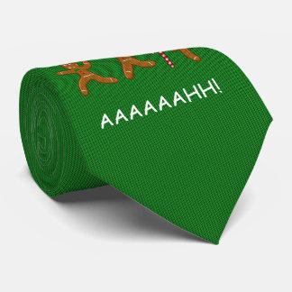 醜いクリスマスのセーターによっておびえさせているGingerbreadmenの緑 ネクタイ
