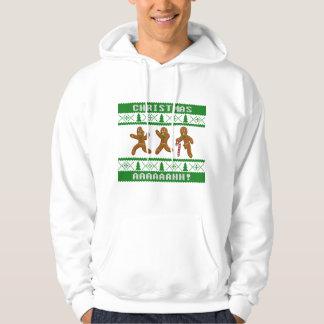 醜いクリスマスのセーターによっておびえさせているGingerbreadmenの緑 パーカ