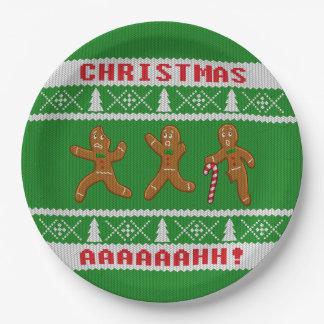 醜いクリスマスのセーターによっておびえさせているGingerbreadmenの緑 ペーパープレート