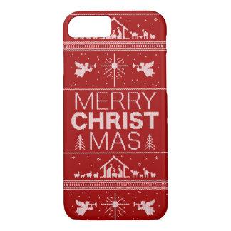 醜いクリスマスのセーターのエレガントな宗教クリスチャン iPhone 8/7ケース