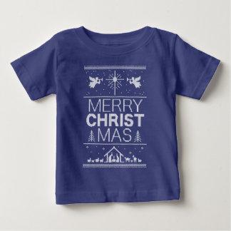 醜いクリスマスのセーターのキリストのキリスト教の青い白 ベビーTシャツ
