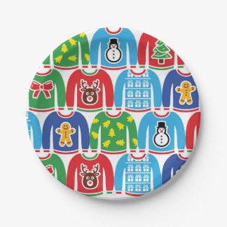 醜いクリスマスのセーターのパーティーの休日のクリスマスのパーティー ペーパープレート