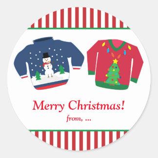醜いクリスマスのセーターの休日のパーティのステッカー ラウンドシール