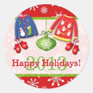 醜いクリスマスのセーターの幸せな休日のステッカー4 ラウンドシール