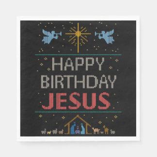 醜いクリスマスのセーター-ハッピーバースデーのイエス・キリストの赤 スタンダードランチョンナプキン