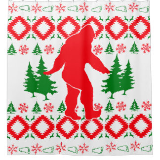 醜いクリスマスビッグフット シャワーカーテン
