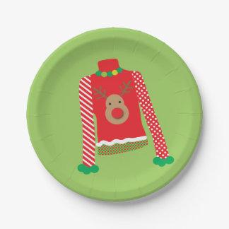 醜いセーターのクリスマス・パーティのプレート(緑) ペーパープレート