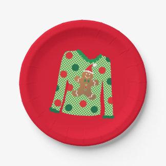 醜いセーターのクリスマス・パーティのプレート(赤い) ペーパープレート