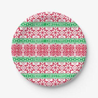 醜いセーターのメリークリスマスの赤い緑の雪片 ペーパープレート