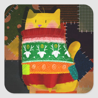 醜いセーターの猫 スクエアシール