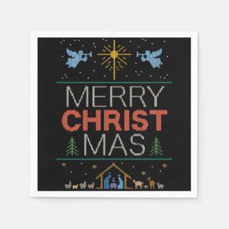 醜いメリークリスマスのセーターの宗教カラフル スタンダードカクテルナプキン