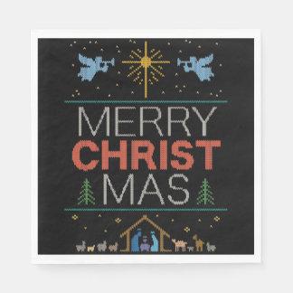 醜いメリークリスマスのセーターの宗教カラフル スタンダードランチョンナプキン