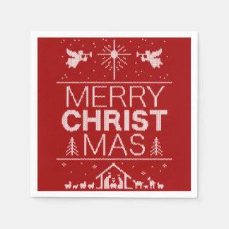 醜いメリークリスマスのセーターの宗教キリストの赤 スタンダードカクテルナプキン