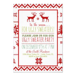 醜い粘着性のセーターのクリスマスの休日のパーティ カード