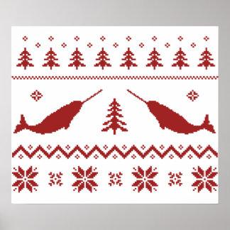 醜いNarwhalのクリスマスのセーター ポスター