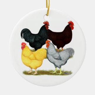 重いオンドリの鶏の四つ組 セラミックオーナメント