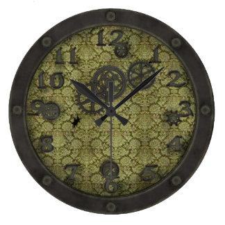 重い青銅色のSteampunkの蒸気口のミント ラージ壁時計