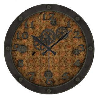 重い青銅色のSteampunkの蒸気口の孔雀 ラージ壁時計