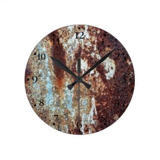 重く錆つかせた金属パターンClockface 1 ラウンド壁時計