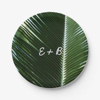 重複のやし葉状体の熱帯緑の抽象芸術 ペーパープレート