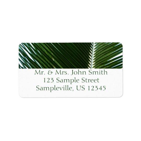 重複のやし葉状体の熱帯緑の抽象芸術 宛名ラベル