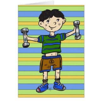 重量挙げの男の子 カード
