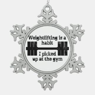 重量挙げの習慣 スノーフレークピューターオーナメント