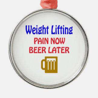 重量挙げの苦痛今ビール後で メタルオーナメント