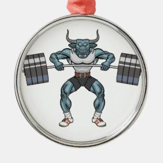 重量挙げの雄牛 シルバーカラー丸型オーナメント