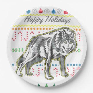 野性生物のオオカミのメリークリスマスの醜いセーター ペーパープレート
