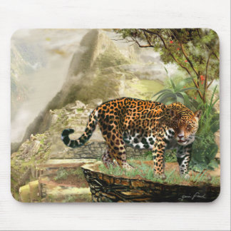 野性生物のマウスパッドのジャガーおよびMachu Picchuペルー マウスパッド