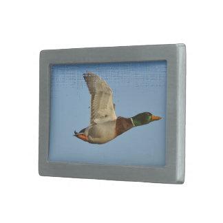 野性生物の恋人のための飛んでいるなマガモのアヒルの芸術 長方形ベルトバックル