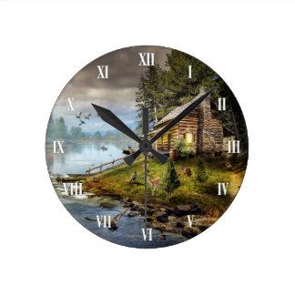 野性生物の景色の柱時計 ウォールクロック
