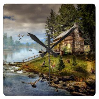野性生物の景色の柱時計 時計