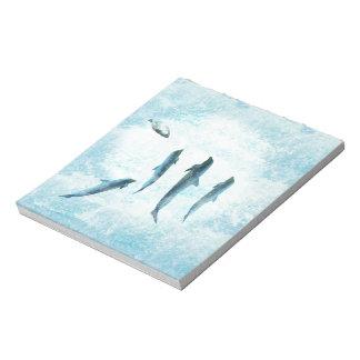 野性生物の水中競技、踊るイルカ ノートパッド