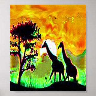野性生物のgiraffの組のアフリカのサファリのジャングルポスター ポスター