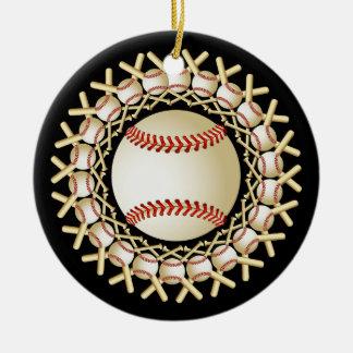 野球およびこうもりのオーナメント セラミックオーナメント