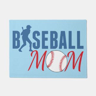 野球のお母さんの青 ドアマット