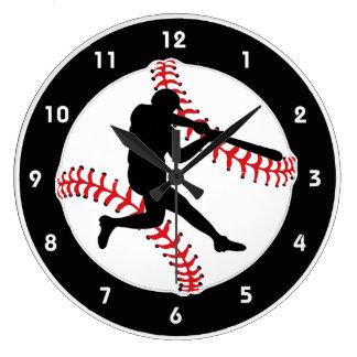 野球のねり粉のデザインの柱時計 ラージ壁時計