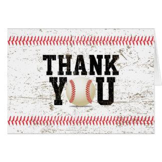 野球のステッチのスポーツのベビーシャワーは感謝していしています カード