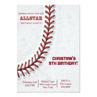 野球のステッチの誕生日の招待状 カード