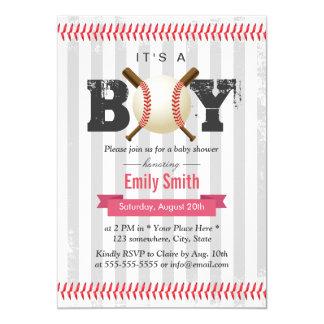 野球のスポーツのテーマそれは男の子のベビーシャワーです 12.7 X 17.8 インビテーションカード