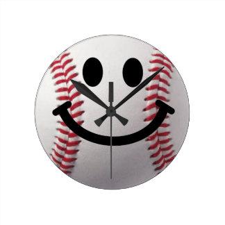野球のスマイリーフェイスの時計 ラウンド壁時計