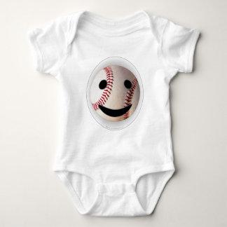 野球のスマイリーマークはあなたの単語を加えます ベビーボディスーツ