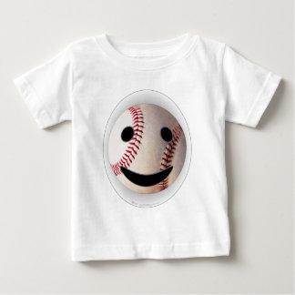 野球のスマイリーマークはあなたの単語を加えます ベビーTシャツ