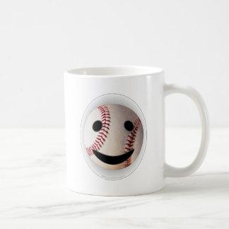 野球のスマイリーマークはあなたの単語を加えます ベーシックホワイトマグカップ
