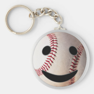 野球のスマイリーマークはあなたの単語を加えます ベーシック丸型缶キーホルダー